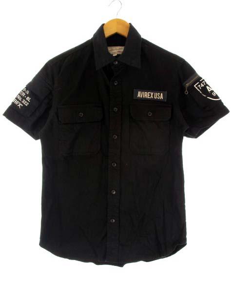 7148dcc5af51 アヴィレックス AVIREX 半袖ファティーグカーキシャツ ミリタリー プリント ブラック M メンズ