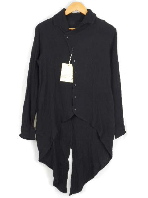 未使用品 アンティカ antiqua patterntorso 変形 Wガーゼ シャツ 長袖 ブラック 黒 F トップス 燕尾 ブラウス コットン  レディース