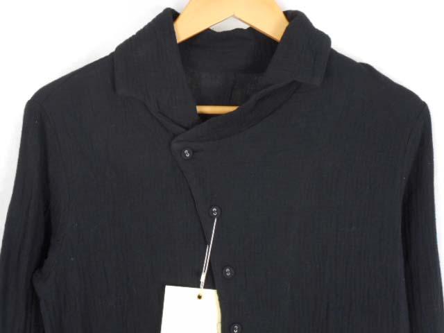 ... 未使用品 アンティカ antiqua patterntorso 変形 Wガーゼ シャツ 長袖 ブラック 黒 F トップス 燕尾 ...