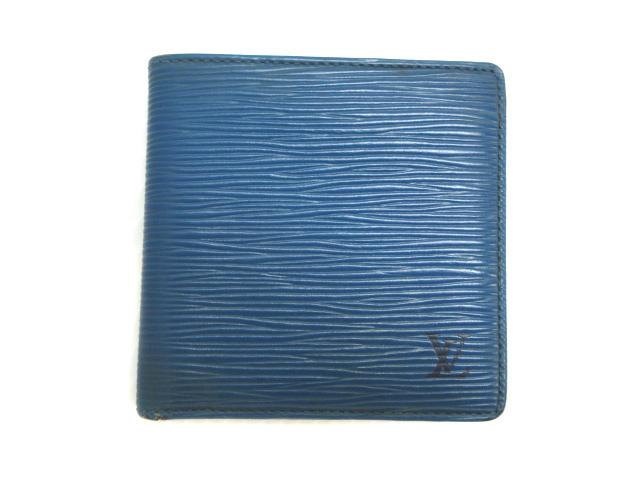 online store 49316 d5160 ルイヴィトン LOUIS VUITTON エピ 2つ折り財布 ウォレット 小銭入れ付き レザー 本革 ブルー系 メンズ