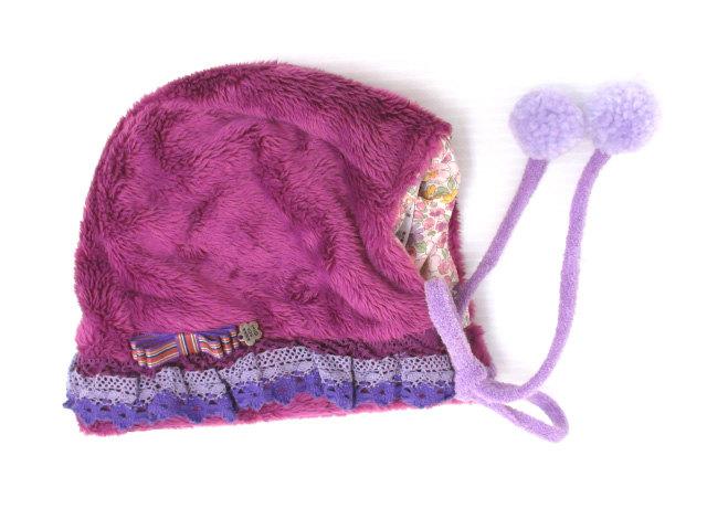 c0c85f12d7209 アナスイ ANNA SUI MINI ボンボン ファー ボンネット 帽子 紫 パープル キッズ ベビー レディース