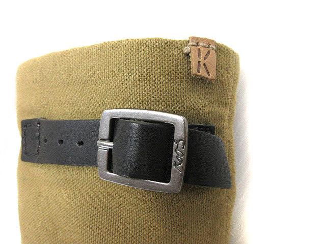 b2480d55e43c ... コース KOOS ROMEO-S ショート ブーツ シューズ 靴 レザー 本革 ベルト 37 カーキグリーン