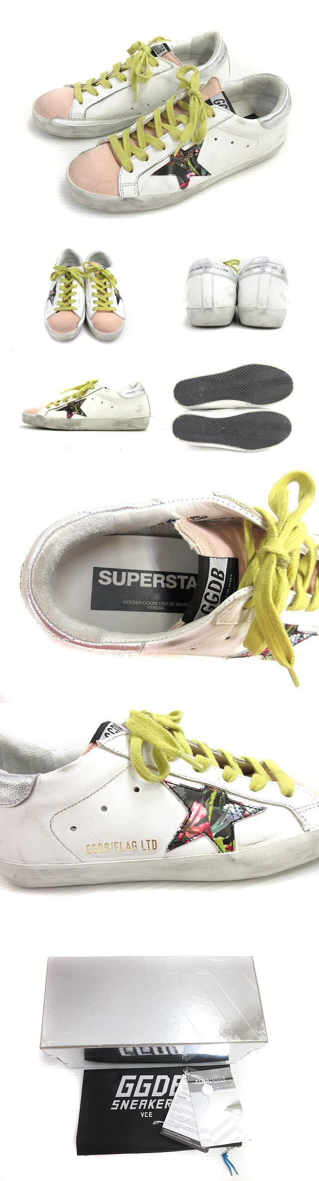 19SS SUPER STAR スーパー スター スニーカー 汚れ加工 星 ダメージ加工 靴 シューズ 37 ホワイト オレンジ
