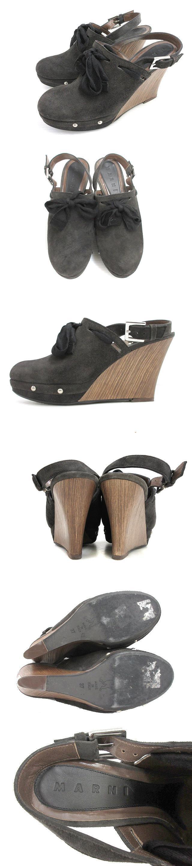 スウェード ウェッジソール サボ サンダル リボン レザー ストラップ 37 ブラック ブラウン 靴 シューズ