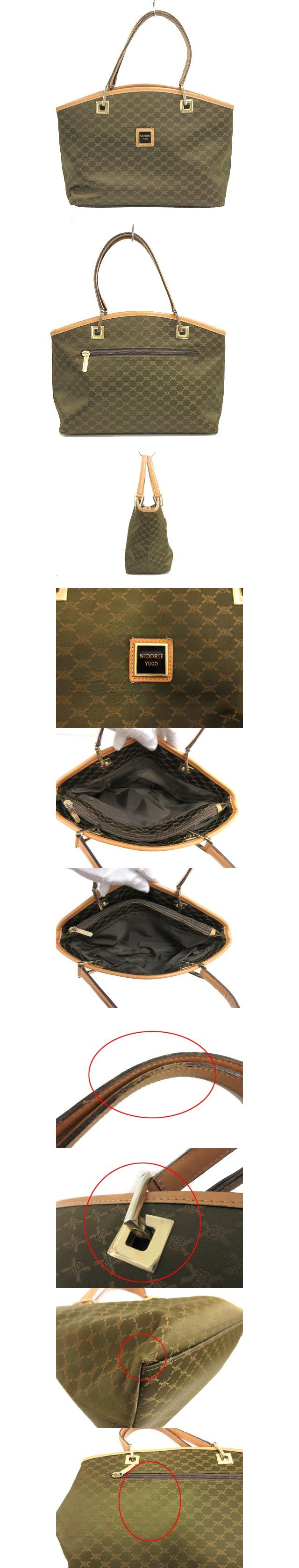 NIDDRIE YUGO ユーゴ ハンドバッグ トート ナイロン レザー 本革 グリーン系 BAG カバン 手提げ鞄