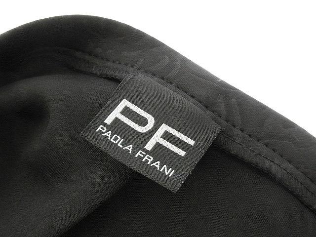 パオラフラーニ PAOLA FRANI PF フラワー エンボス タイト スカート 42 ブラック 黒 ボンディング調 ボトムス 型押し 花柄 レディース