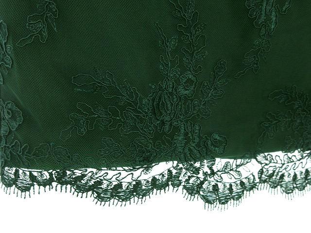 パオラフラーニ PAOLA FRANI PF フラワー コードレース タイト スカート 42 グリーン 緑 ボトムス 刺繍 花柄 レディース