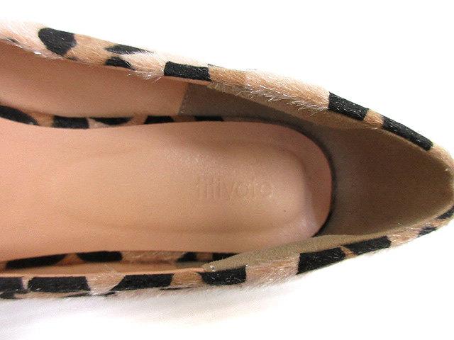 ティティベイト titivate ハラコ調 レオパード柄 パンプス フラットシューズ M ベージュ系 ブラック 靴 レディース