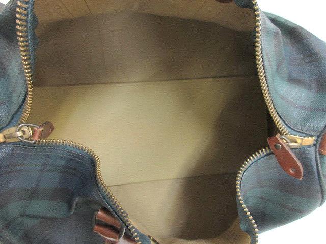 ポロ ラルフローレン POLO RALPH LAUREN ボストンバッグ チェック柄 ハンド レザー 本革 手提げ鞄 BAG カバン グリーン ブラック メンズ レディース