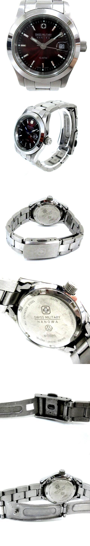 SWISS MILITARY HANOWA スイスミリタリー ハノワ クォーツ 腕時計 3針 デイト カレンダー 6-7023 赤文字盤 レッド ステンレス ジャンク A