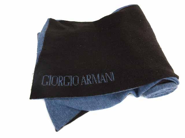 huge discount 35689 32b66 ジョルジオアルマーニ GIORGIO ARMANI マフラー ウール バイカラー ダークブラウン ブルー イタリア製 ☆AA★ メンズ レディース