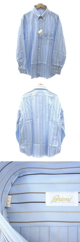 ボタンダウン ドレス シャツ カッター ワイシャツ 長袖 ストライプ 6 47 18 1/2 XXXL 水色 ライトブルー 大きいサイズ イタリア製 ビジネス 通勤 IBS35 A