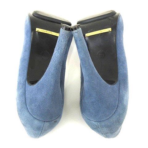 ダブルスタンダードクロージング ダブスタ DOUBLE STANDARD CLOTHING パンプス アーモンドトゥ スエード スウェードレザー 羊革 無地 37.5 37 1/2 約24.5cm くすみブルー A レディース