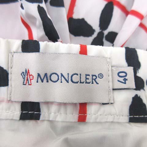 モンクレール MONCLER バルーン スカート ミニ 総柄 チェック ナイロン 40 Mサイズ 白 ホワイト ECR5 レディース