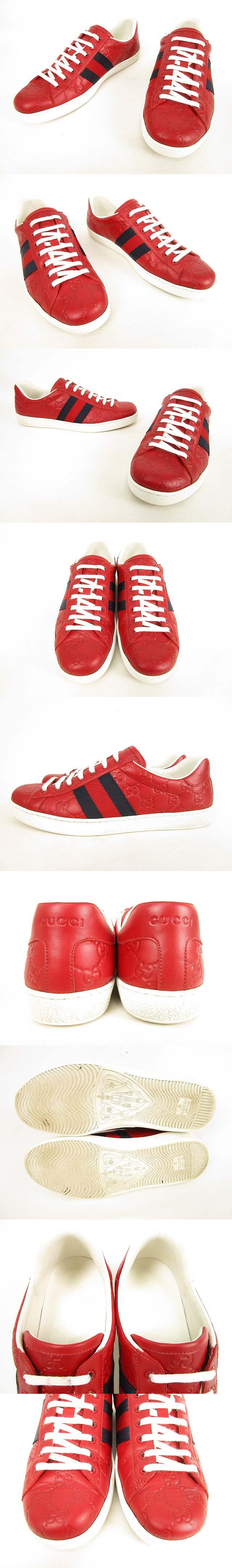 67255cd7fc9 Gucci GUCCI 386750 Ace ACE sneakers GG Logo leather 8 red  AA   Real ...