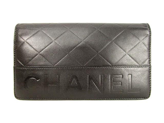 best sneakers d9e28 ab845 シャネル CHANEL 長財布 ロングウォレット 2つ折り ラムスキン 型押し ロゴ 黒 ブラック レディース
