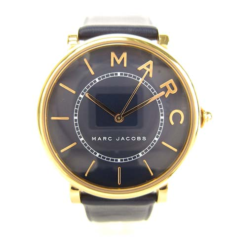 promo code ede64 bd2c1 マークジェイコブス MARC JACOBS MJ1534 ROXY ロキシー 腕時計 アナログ レザーベルト ネイビー ゴールド メンズ