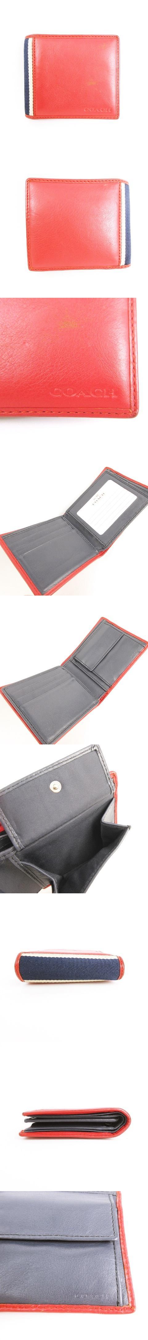 F74617 ヘリテージウェブレザーIDコインウォレット 財布 二つ折り 2つ折り 定期入れ パスケース 小銭入れ ポケット多数あり レザー レッド × ネイビー 紺 赤