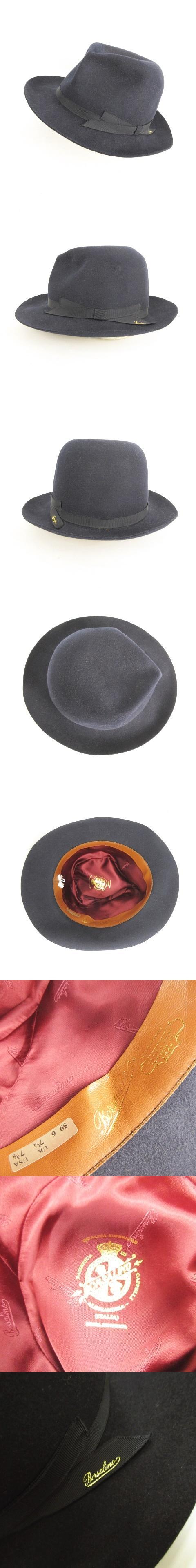中折れハット 帽子 ソフトブリム ロゴ入りリボン フエルト 59 ネイビー 紺 ITALY製