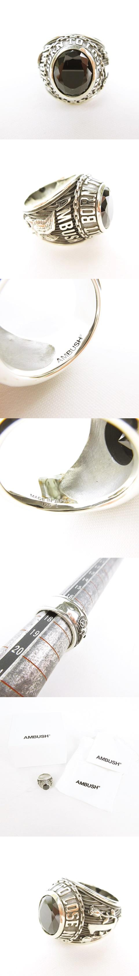 CLASS RING Silver - Black L COLLEGE RING クラスリング カレッジリング 指輪 ストーン付き アクセサリー オニキス × シルバー SILVER 925 未使用 美品