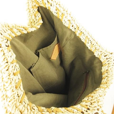 アインソフ Ain Soph カゴバッグ ショルダートート トートバッグ レザーハンドル タッセルフリンジ付き 縦型 薄型 ナチュラルカラー × ベージュ レディース