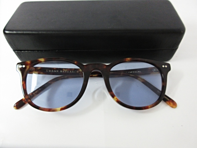 アーバンリサーチ URBAN RESEARCH × カネコオプティカル KANEKO OPTICAL カラーレンズ サングラス べっ甲柄 茶系フレーム ブルーレンズ ケース付き めがね 眼鏡 メンズ