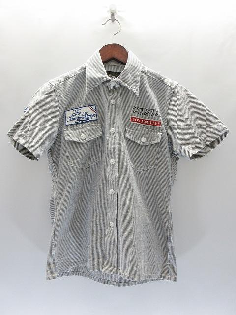 6621837955feb マーダーライセンス Murder License ワッペン付 ストライプシャツ 44 紺 白 半袖 コットン シャツ トップス ネイビー  3007487236000001 メンズ