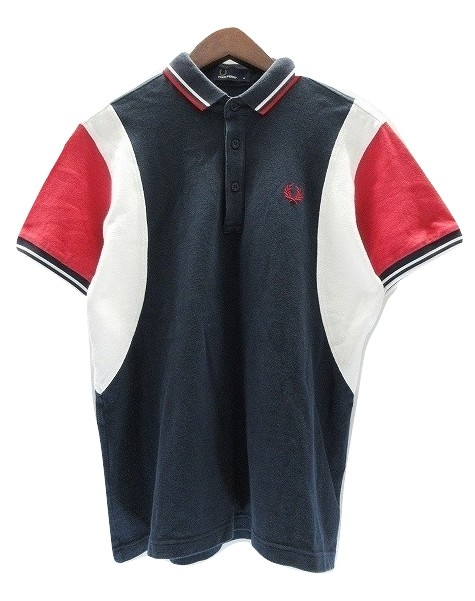 4b80e4bfa32629 フレッドペリー FRED PERRY 半袖 ポロシャツ M 紺 赤 白 コットン ワンポイント 刺繍入 カットソー トップス  3008655236000160 メンズ