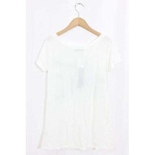 未使用 タグ付 新品 ロエン Roen カットソー Tシャツ ロゴ プリント 刺繍 半袖 F ホワイト 白 /H191b 春夏 レディース
