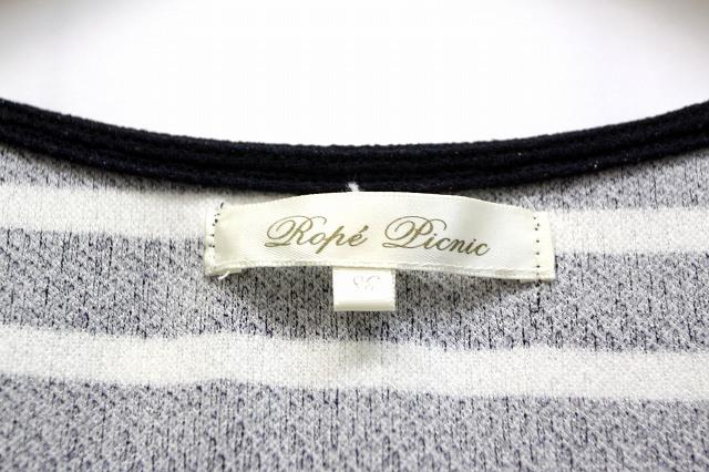 ロペピクニック ROPE Picnic Tシャツ カットソー ボーダー 柄 ラメ糸 刺繍 フレアー ラウンドネック 半袖 38 ブラック 黒 /BB20 春夏 レディース
