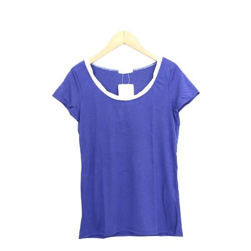 未使用 タグ付 新品 インデックス INDEX Tシャツ カットソー 半袖 シンプル 無地 バイカラー レーヨン混 M ブルー 青 /R1 レディース