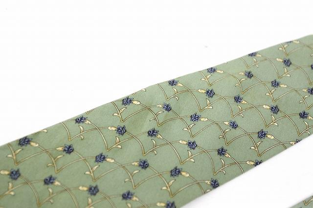 クロエ CHLOE Homme オム ネクタイ 総柄 パターン 絹 シルク グリーン 緑 /BB9 メンズ