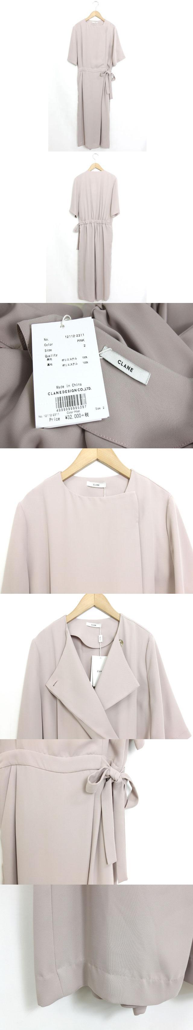 未使用 タグ付 オールインワン ジャンプスーツ カシュクール 半袖 無地 シンプル 2 ピンク /C346