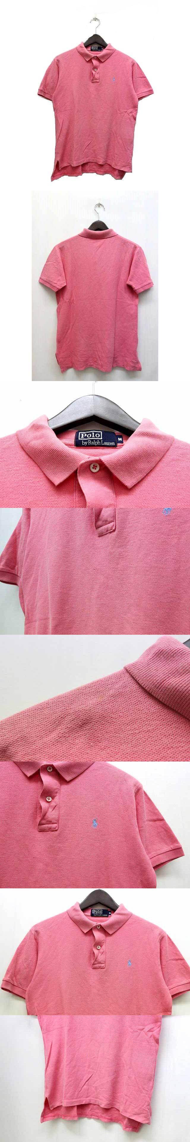 ポロシャツ 鹿の子 ワンポイント 刺繍 半袖 M ピンク 桃 /BK20