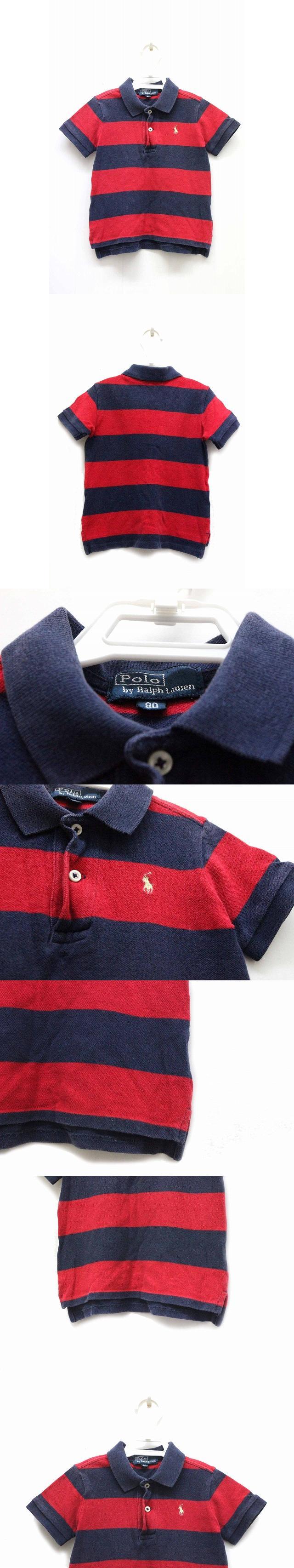 ポロシャツ 鹿の子 ボーダー 柄 ワンポイント 半袖 80 ネイビー 紺 /BK6 ベビー