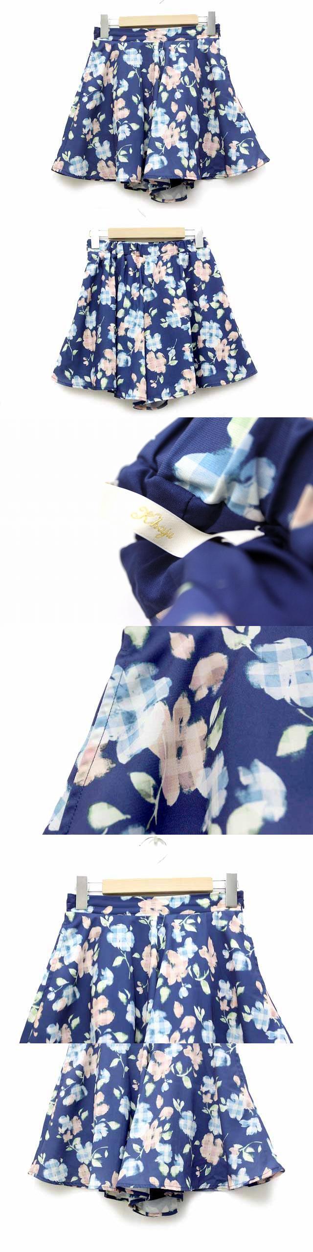 シップス キュロット スカート ショートパンツ ミニ ボトムス 花柄 ブルー 青 /BB