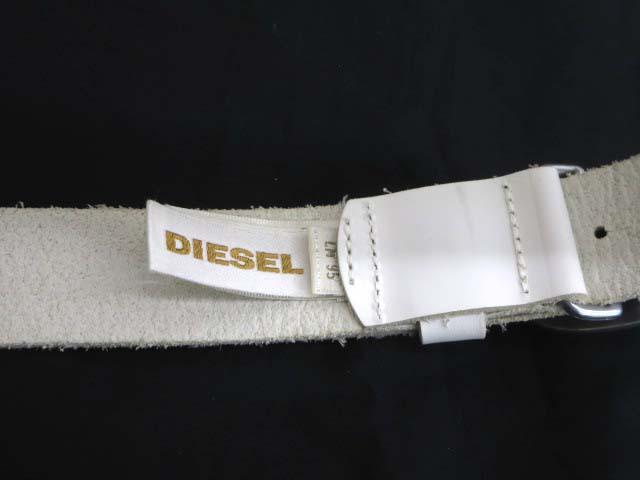 ディーゼル DIESEL HEAVY-IND レザー ベルト ホワイト メンズ