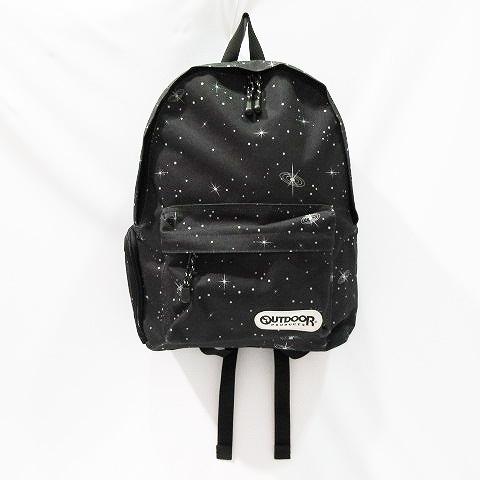 39e6d9cb33118 アウトドアプロダクツ OUTDOOR PRODUCTS リュックサック バックパック 鞄 ナイロン キャンバス 星柄 宇宙柄 黒 ブラック系 メンズ  レディース