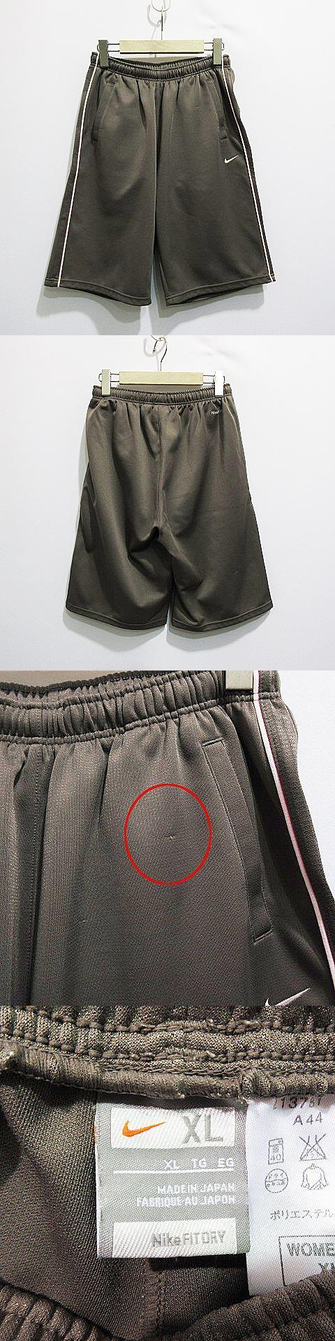 FIT ハーフ パンツ スポーツウェア ウエストゴム ライン 刺繍 ロゴ XL 茶 ブラウン系