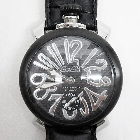first rate c7333 25bd9 ガガミラノ GaGa MILANO マニュアーレ マヌアーレ 48 手巻き 腕時計 カーボン 黒 ブラック系 メンズ
