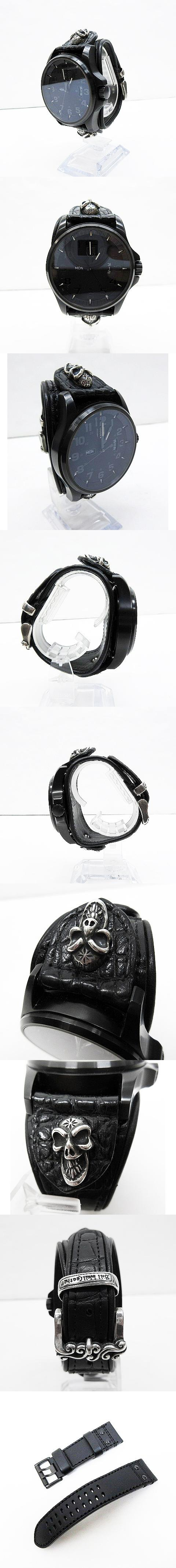 × LUMINOX ルミノックス コラボレーション  限定 1870 スカル シルバー フィールドタイムデイト アリゲーター クォーツ 腕時計
