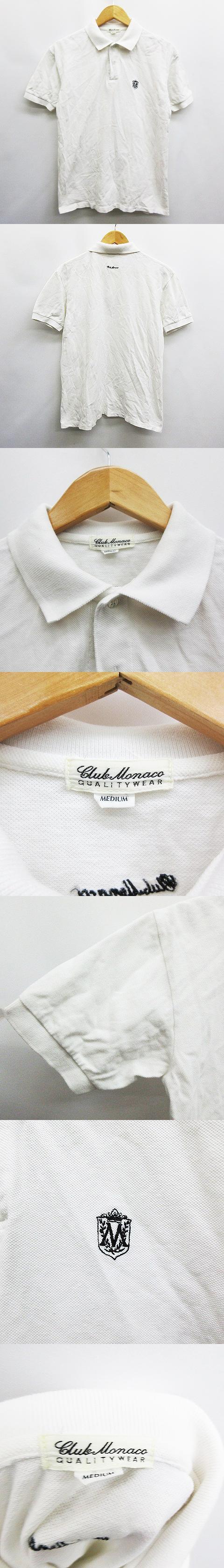 クラブモナコ CLUB MONACO ポロシャツ 半袖 ロゴ刺繍 綿 コットン 100% M 白 ホワイト系