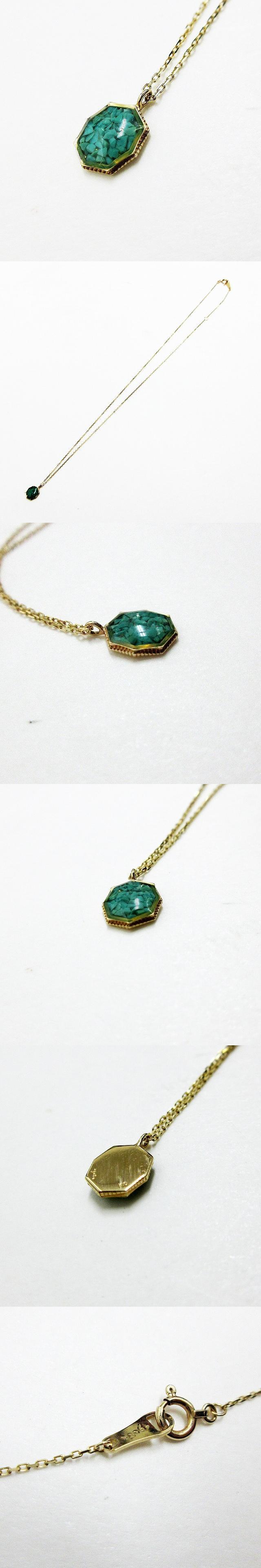 K10 金 ゴールド ネックレス 青 ブルー系