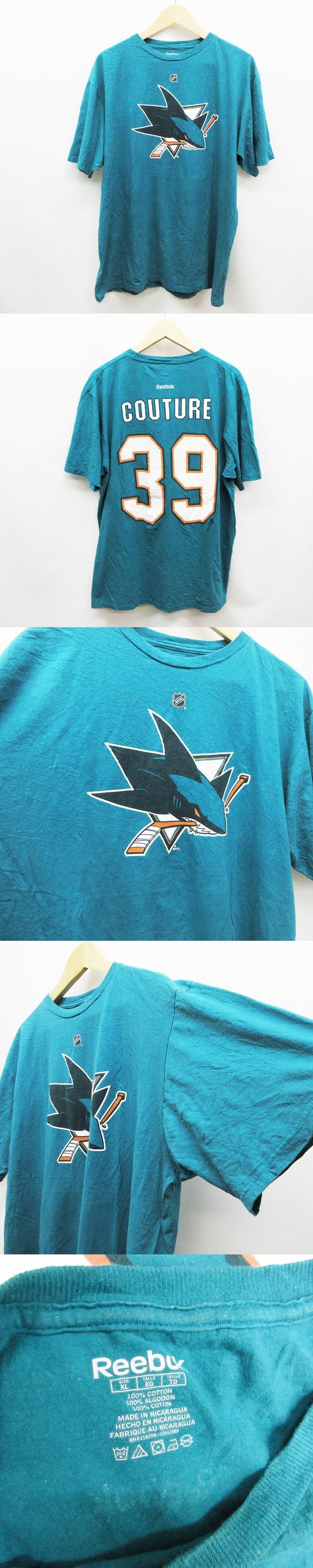 Tシャツ カットソー 半袖 丸首 クルーネック NHL サンノゼ シャークス COUTURE 30 ロゴ プリント 綿 コットン 100% XL 緑 ターコイズグリーン系 ● 13