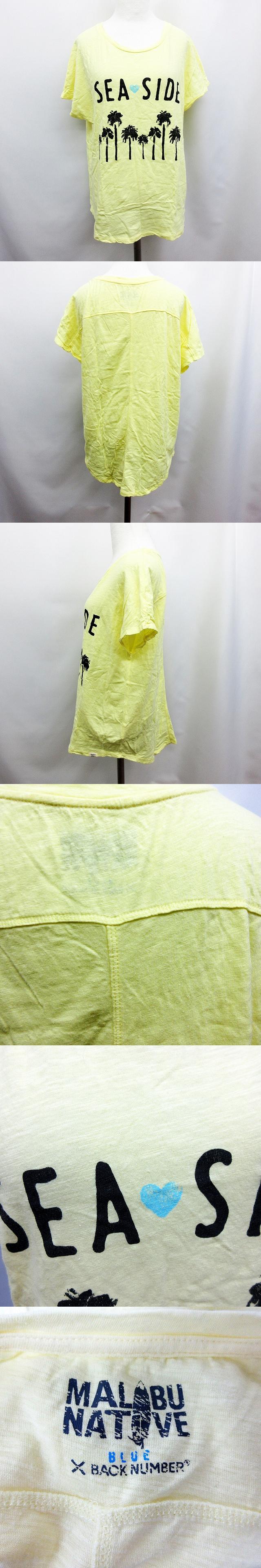 × MALIBU NATIVE Tシャツ カットソー 半袖 ヤシの木 プリント M 黄色 イエロー系
