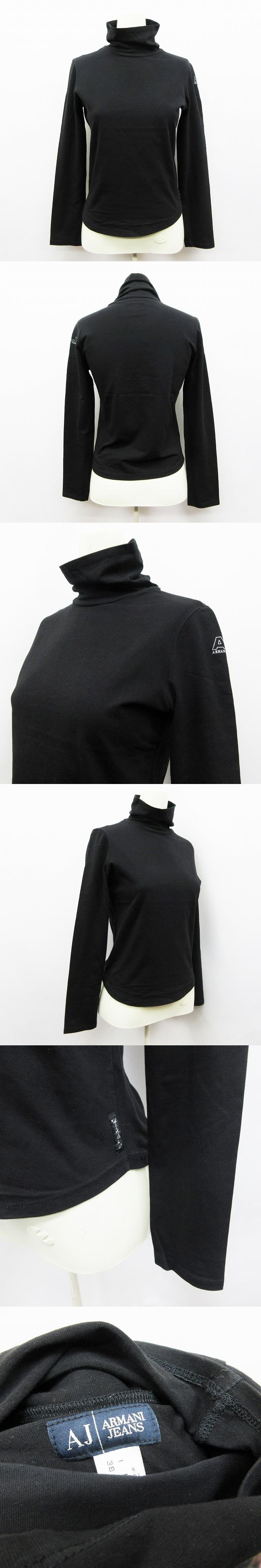 Tシャツ ロンT カットソー 長袖 タートルネック ロゴ 袖プリント 綿 コットン ストレッチ USA 4 (S相当) 黒 ブラック系