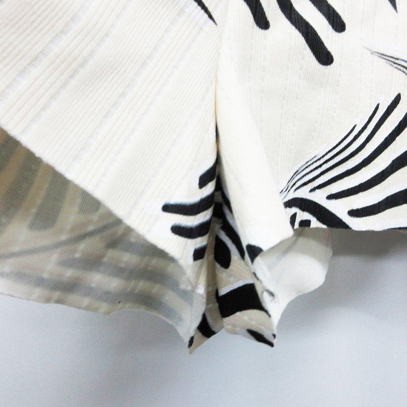 ザラ ZARA W&B ショートパンツ ウエストゴム 背面ファスナー 総柄 ストライプ M ベージュ系 黒 ブラック系 レディース