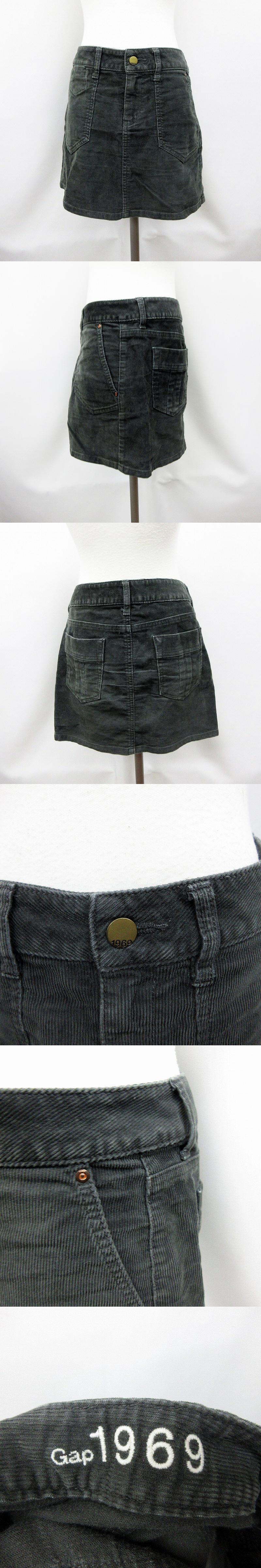 ストレッチ コーデュロイ ミニ スカート XS 灰色 グレー系 ●19