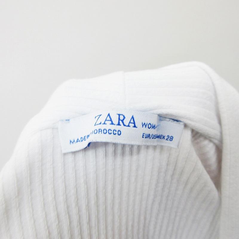 ザラ ZARA カットソー 半袖 Vネック ストレッチ M 白 ホワイト系 ●20 レディース