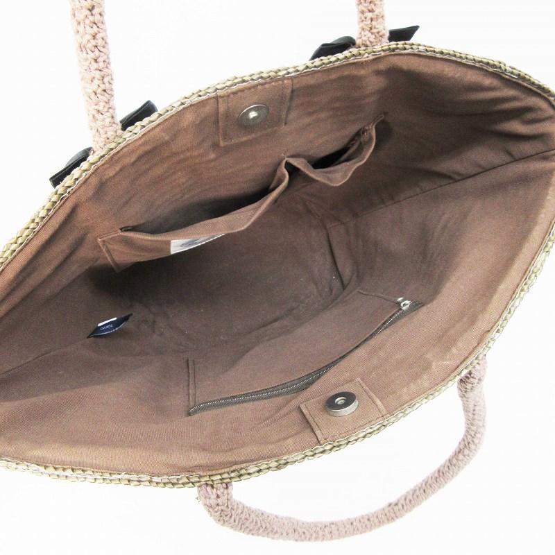 コントロールフリーク Ctrl freak カゴバッグ トートバッグ かばん レース編み リボン 茶 ブラウン系 ●24 レディース